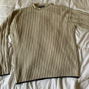 cream thick knit sweater